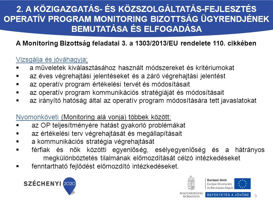 A Monitoring Bizottság feladatai (1) Az Európai Parlament és a Tanács 1303/2013/EU 49.