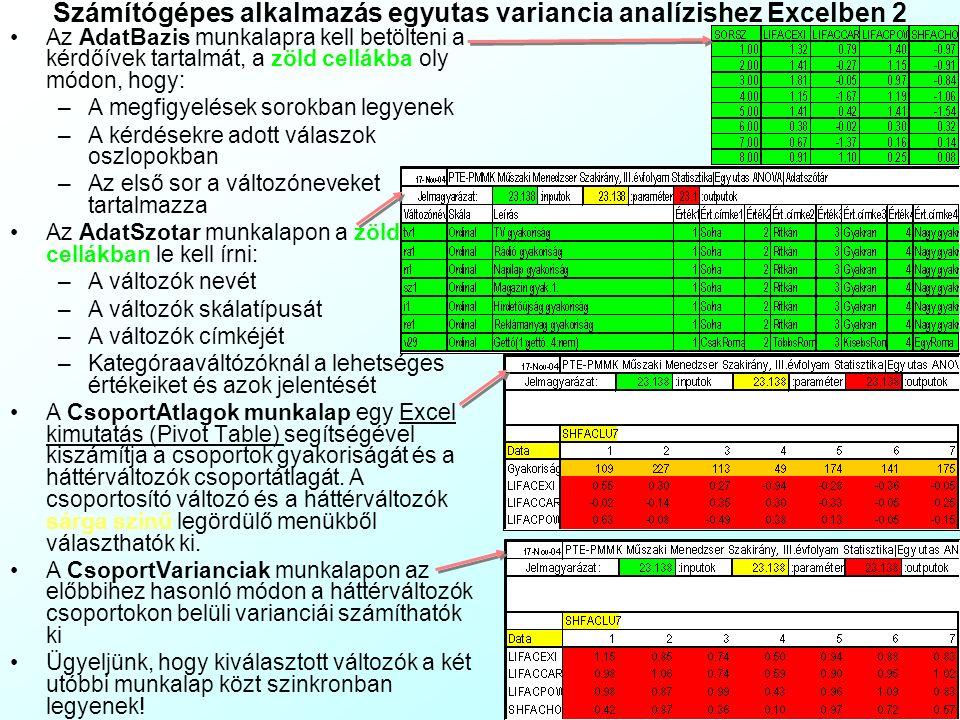 Számítógépes alkalmazás egyutas variancia analízishez Excelben 1 A EgyUtasANOVA.xls fájl Excelben mutat példát:EgyUtasANOVA.xls A csoportosított válto