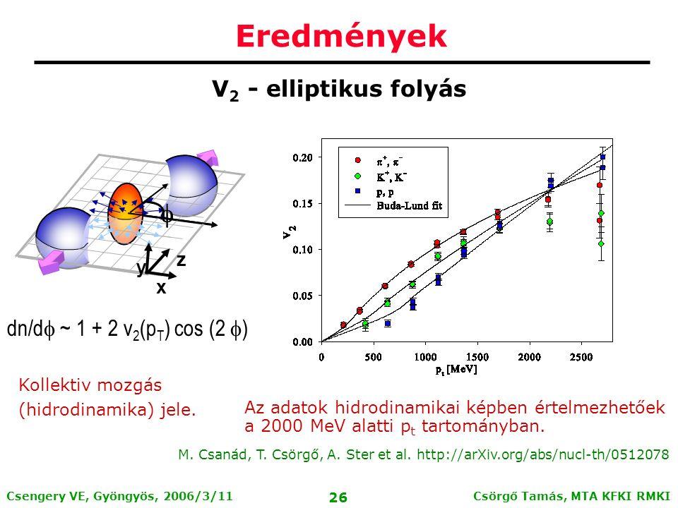 Csörgő Tamás, MTA KFKI RMKI 25 Csengery VE, Gyöngyös, 2006/3/11 4 RHIC kísérlet a Phys.