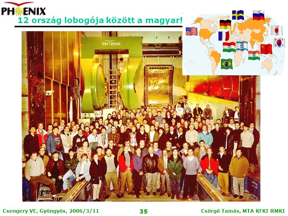 Csörgő Tamás, MTA KFKI RMKI 34 Csengery VE, Gyöngyös, 2006/3/11 A fenti eredmények alapvetően támasztják alá a tökéletes folyadék halmazállapot létrehozását a RHIC Au+Au ütközéseiben.