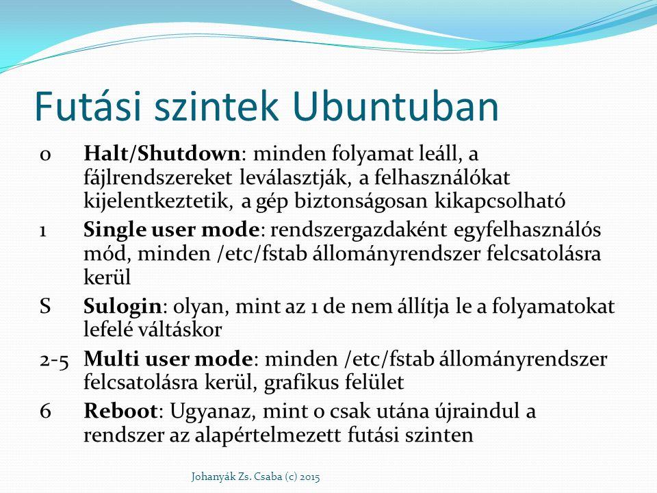 Futási szintek Ubuntuban 0Halt/Shutdown: minden folyamat leáll, a fájlrendszereket leválasztják, a felhasználókat kijelentkeztetik, a gép biztonságosa