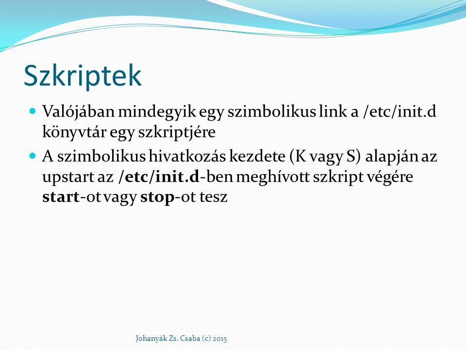 Szkriptek Valójában mindegyik egy szimbolikus link a /etc/init.d könyvtár egy szkriptjére A szimbolikus hivatkozás kezdete (K vagy S) alapján az upsta