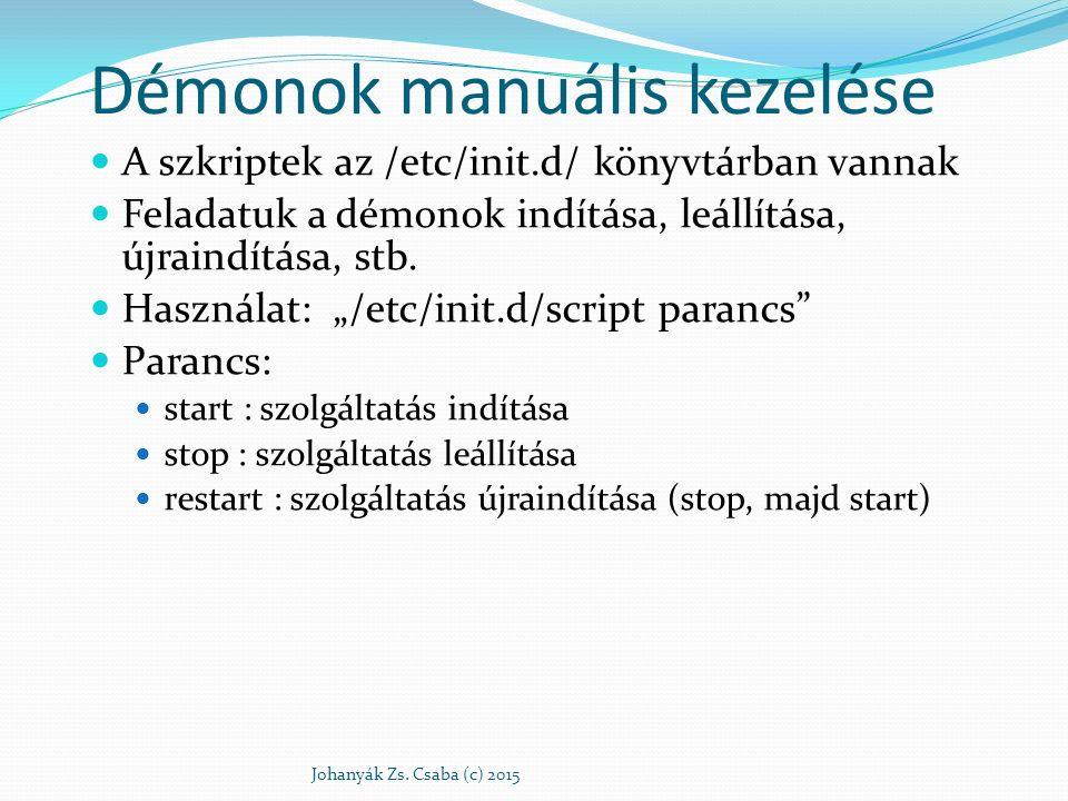 """Démonok manuális kezelése A szkriptek az /etc/init.d/ könyvtárban vannak Feladatuk a démonok indítása, leállítása, újraindítása, stb. Használat: """"/etc"""