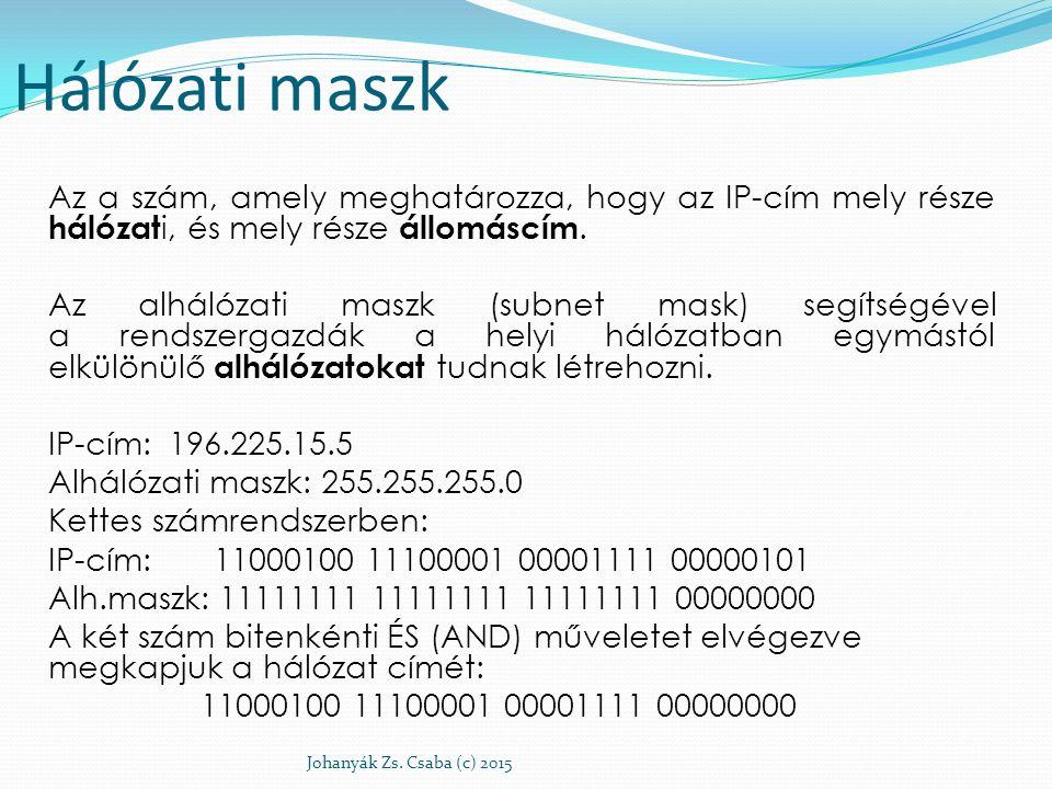 Hálózati maszk Az a szám, amely meghatározza, hogy az IP-cím mely része hálózat i, és mely része állomáscím. Az alhálózati maszk (subnet mask) segítsé