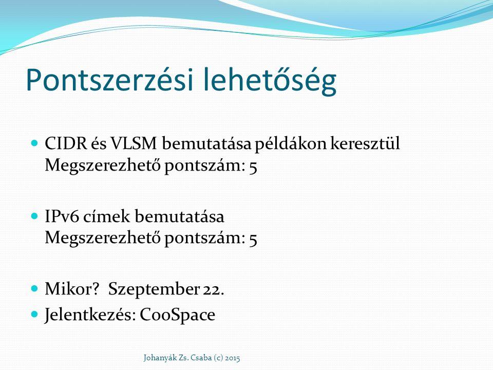 Pontszerzési lehetőség CIDR és VLSM bemutatása példákon keresztül Megszerezhető pontszám: 5 IPv6 címek bemutatása Megszerezhető pontszám: 5 Mikor? Sze