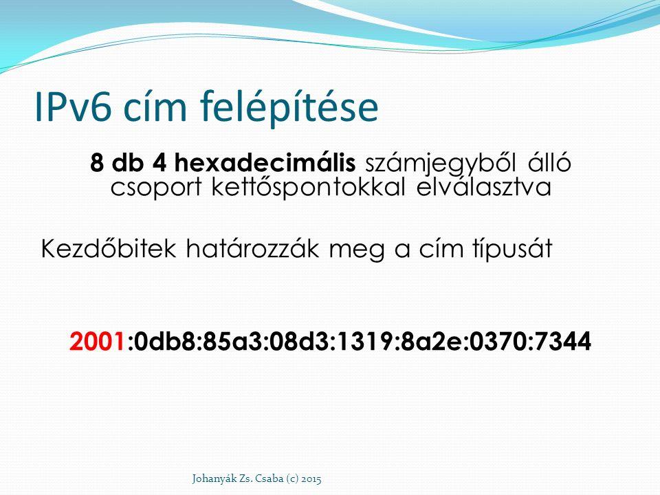 IPv6 cím felépítése 8 db 4 hexadecimális számjegyből álló csoport kettőspontokkal elválasztva Kezdőbitek határozzák meg a cím típusát 2001:0db8:85a3:0