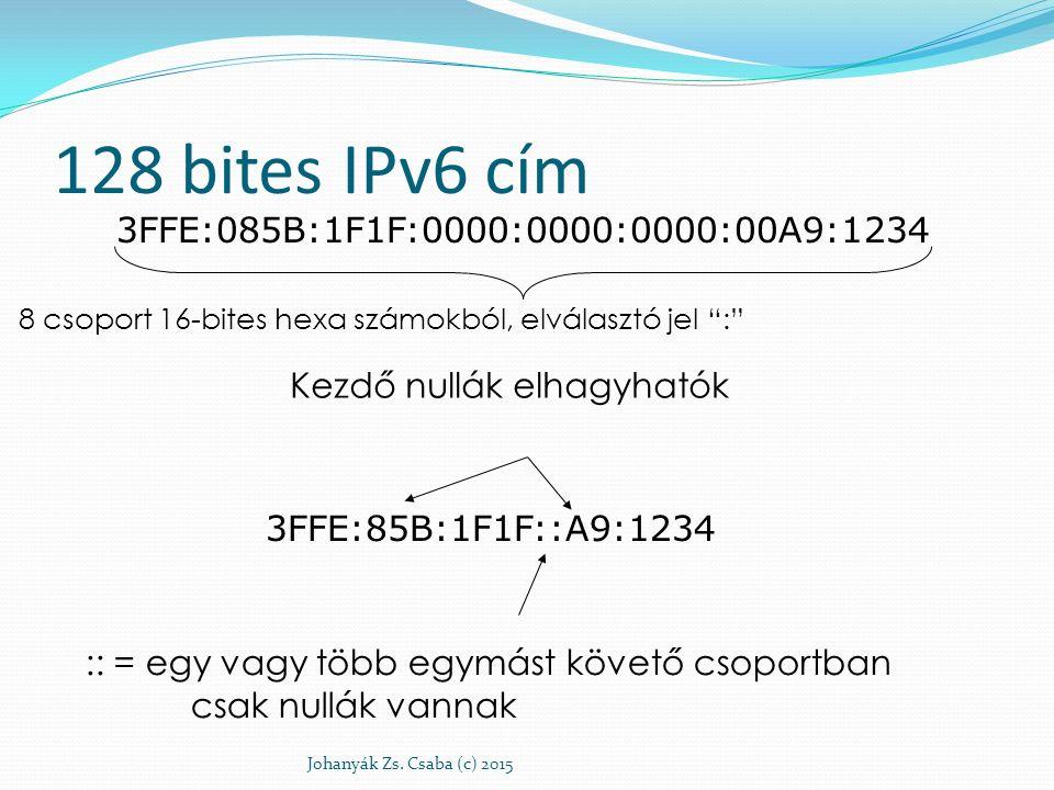 """128 bites IPv6 cím Johanyák Zs. Csaba (c) 2015 3FFE:085B:1F1F:0000:0000:0000:00A9:1234 8 csoport 16-bites hexa számokból, elválasztó jel """":"""" 3FFE:85B:"""