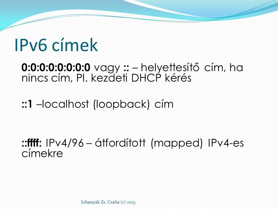 IPv6 címek 0:0:0:0:0:0:0:0 vagy :: – helyettesítő cím, ha nincs cím, Pl. kezdeti DHCP kérés ::1 –localhost (loopback) cím ::ffff: IPv4/96 – átfordítot