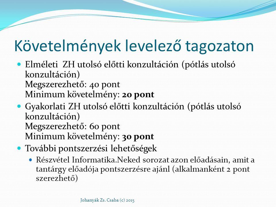 Követelmények levelező tagozaton Elméleti ZH utolsó előtti konzultáción (pótlás utolsó konzultáción) Megszerezhető: 40 pont Minimum követelmény: 20 po