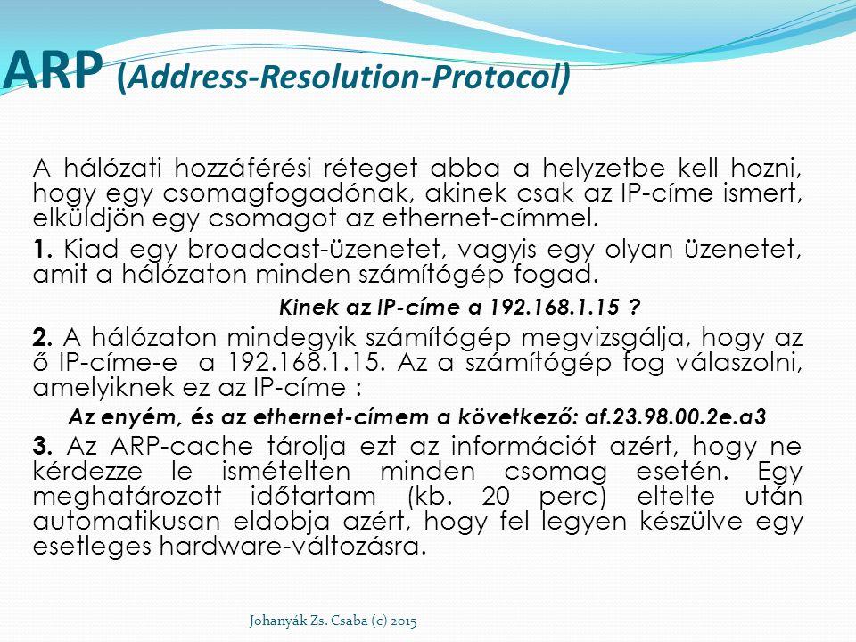 ARP (Address-Resolution-Protocol) A hálózati hozzáférési réteget abba a helyzetbe kell hozni, hogy egy csomagfogadónak, akinek csak az IP-címe ismert,