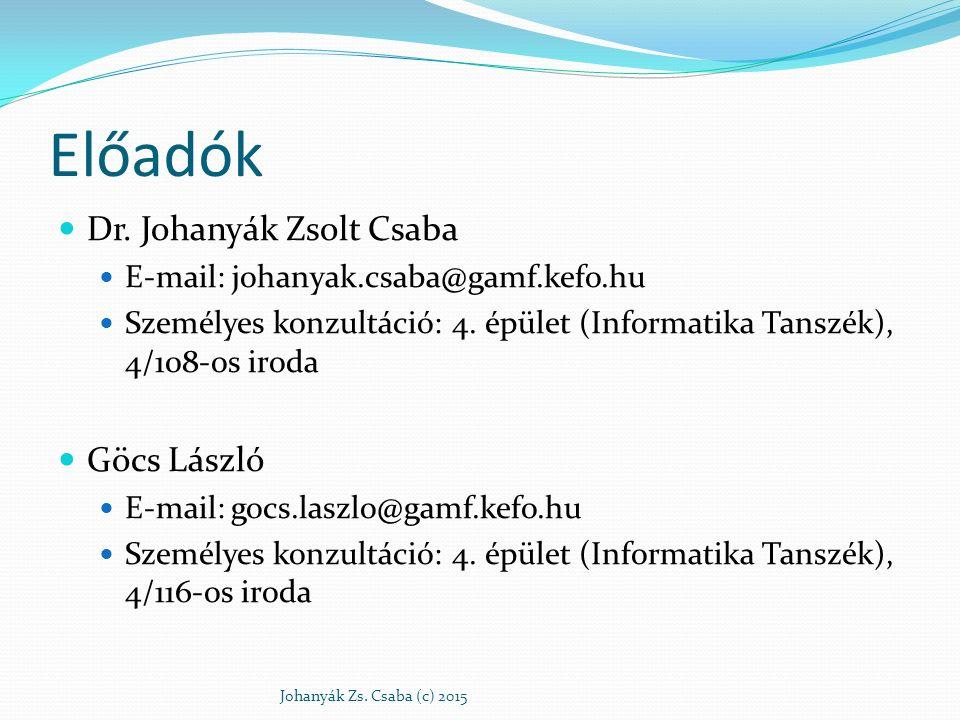 Előadók Dr. Johanyák Zsolt Csaba E-mail: johanyak.csaba@gamf.kefo.hu Személyes konzultáció: 4. épület (Informatika Tanszék), 4/108-os iroda Göcs Lászl