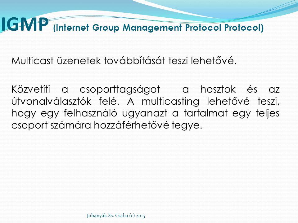 IGMP ( Internet Group Management Protocol Protocol) Multicast üzenetek továbbítását teszi lehetővé. Közvetíti a csoporttagságot a hosztok és az útvona