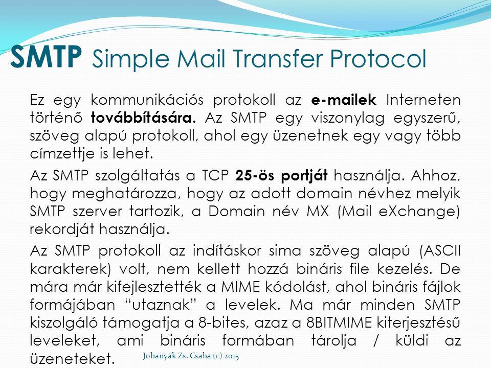 SMTP Simple Mail Transfer Protocol Ez egy kommunikációs protokoll az e-mailek Interneten történő továbbítására. Az SMTP egy viszonylag egyszerű, szöve