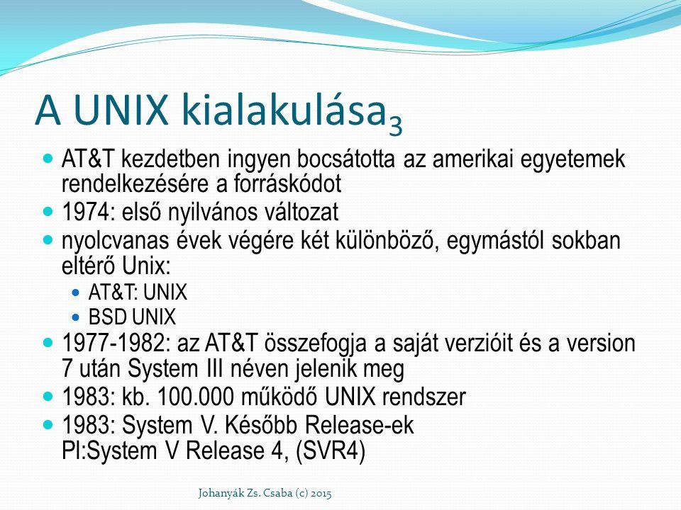 A UNIX kialakulása 3 AT&T kezdetben ingyen bocsátotta az amerikai egyetemek rendelkezésére a forráskódot 1974: első nyilvános változat nyolcvanas évek