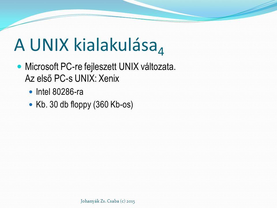 A UNIX kialakulása 4 Microsoft PC-re fejleszett UNIX változata. Az első PC-s UNIX: Xenix Intel 80286-ra Kb. 30 db floppy (360 Kb-os) Johanyák Zs. Csab