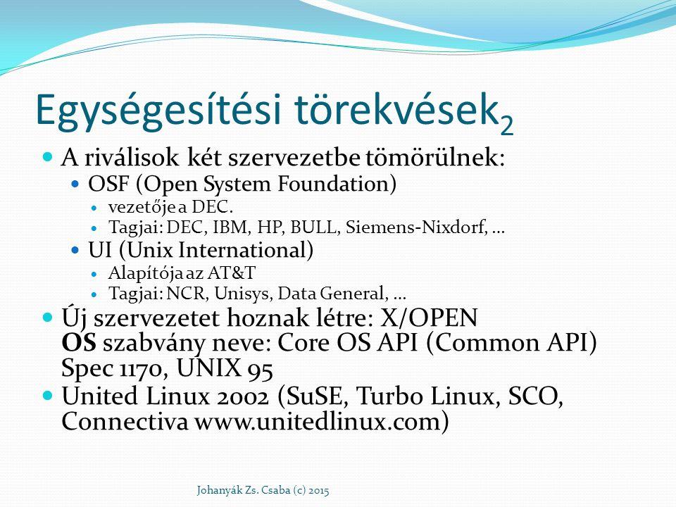 Egységesítési törekvések 2 A riválisok két szervezetbe tömörülnek: OSF (Open System Foundation) vezetője a DEC. Tagjai: DEC, IBM, HP, BULL, Siemens-Ni