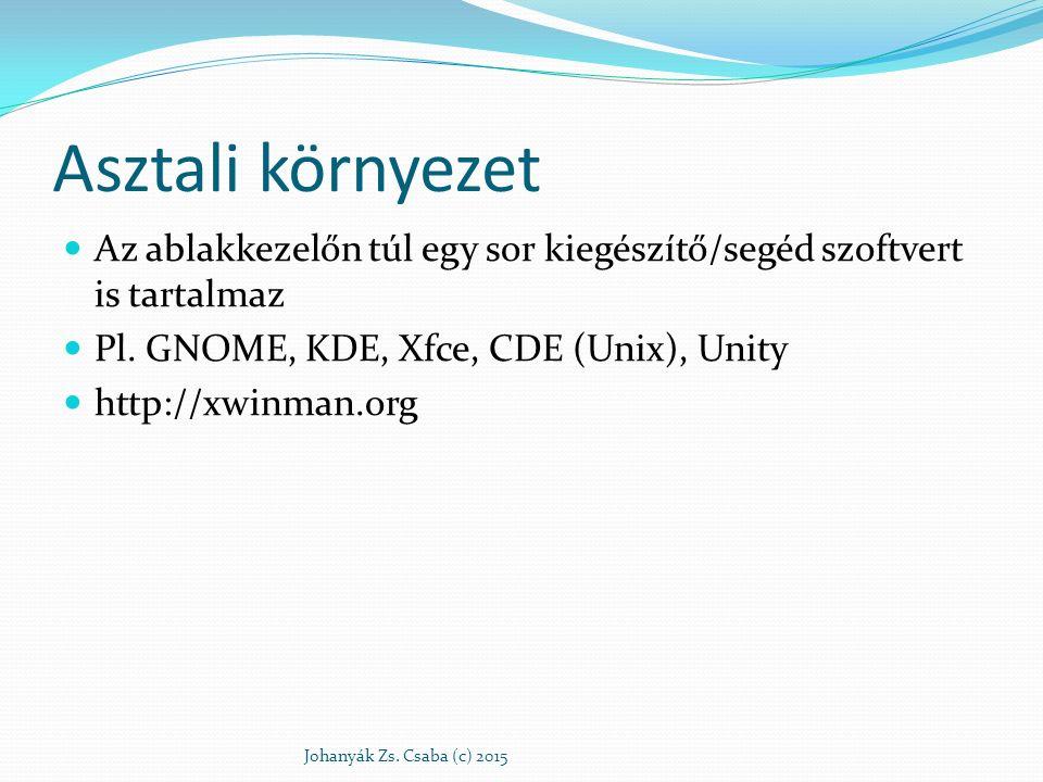 Asztali környezet Az ablakkezelőn túl egy sor kiegészítő/segéd szoftvert is tartalmaz Pl. GNOME, KDE, Xfce, CDE (Unix), Unity http://xwinman.org Johan