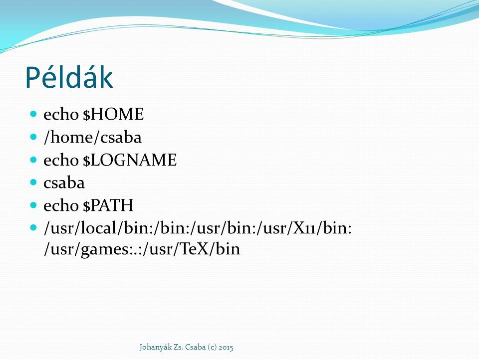 Példák echo $HOME /home/csaba echo $LOGNAME csaba echo $PATH /usr/local/bin:/bin:/usr/bin:/usr/X11/bin: /usr/games:.:/usr/TeX/bin Johanyák Zs. Csaba (