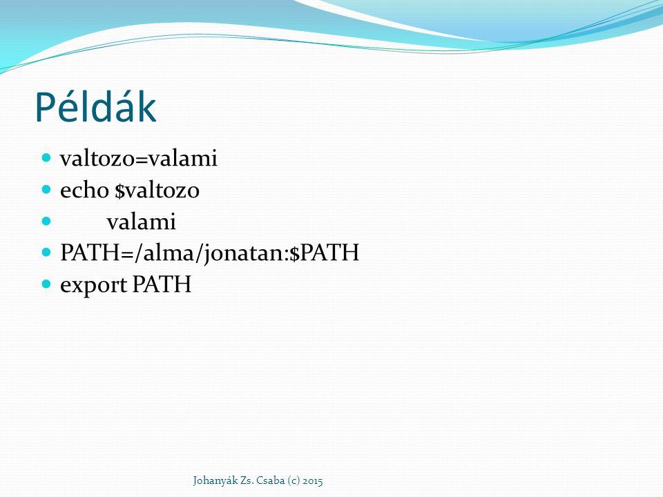 Példák valtozo=valami echo $valtozo valami PATH=/alma/jonatan:$PATH export PATH Johanyák Zs. Csaba (c) 2015