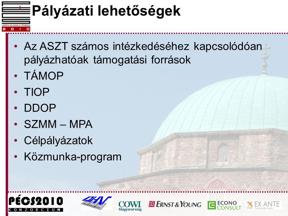 Pályázati lehetőségek Az ASZT számos intézkedéséhez kapcsolódóan pályázhatóak támogatási források TÁMOP TIOP DDOP SZMM – MPA Célpályázatok Közmunka-pr
