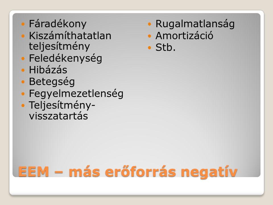 EEM – más erőforrás negatív Fáradékony Kiszámíthatatlan teljesítmény Feledékenység Hibázás Betegség Fegyelmezetlenség Teljesítmény- visszatartás Rugal