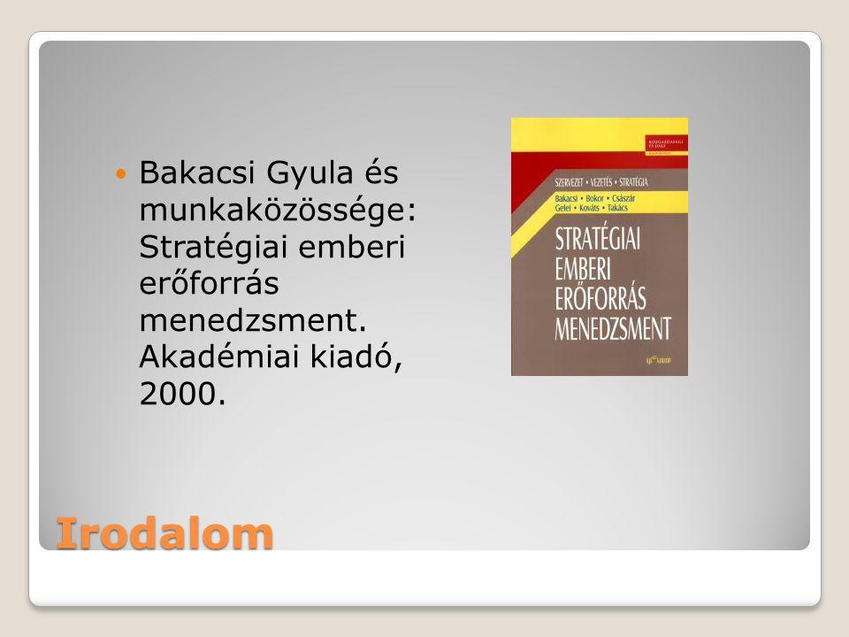 Irodalom Bakacsi Gyula és munkaközössége: Stratégiai emberi erőforrás menedzsment. Akadémiai kiadó, 2000.