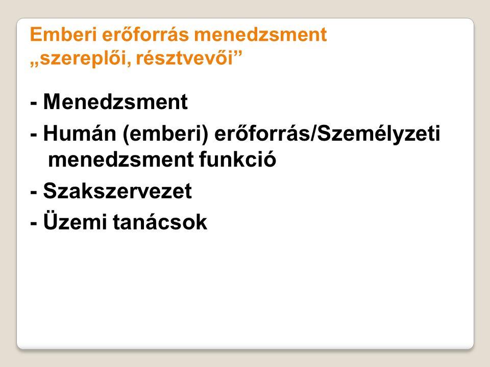 """Emberi erőforrás menedzsment """"szereplői, résztvevői"""" - Menedzsment - Humán (emberi) erőforrás/Személyzeti menedzsment funkció - Szakszervezet - Üzemi"""