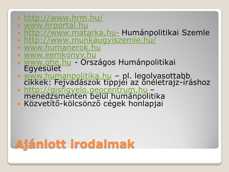 Ajánlott irodalmak http://www.hrm.hu/ www.hrportal.hu http://www.matarka.hu- Humánpolitikai Szemle http://www.matarka.hu- http://www.munkaugyiszemle.h