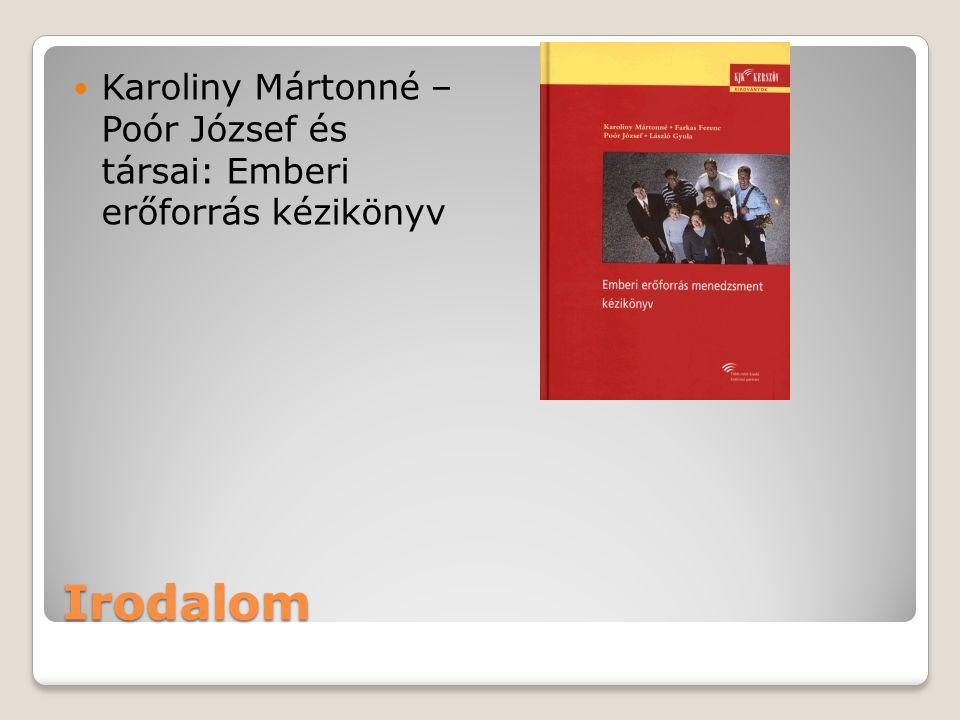 Irodalom Karoliny Mártonné – Poór József és társai: Emberi erőforrás kézikönyv