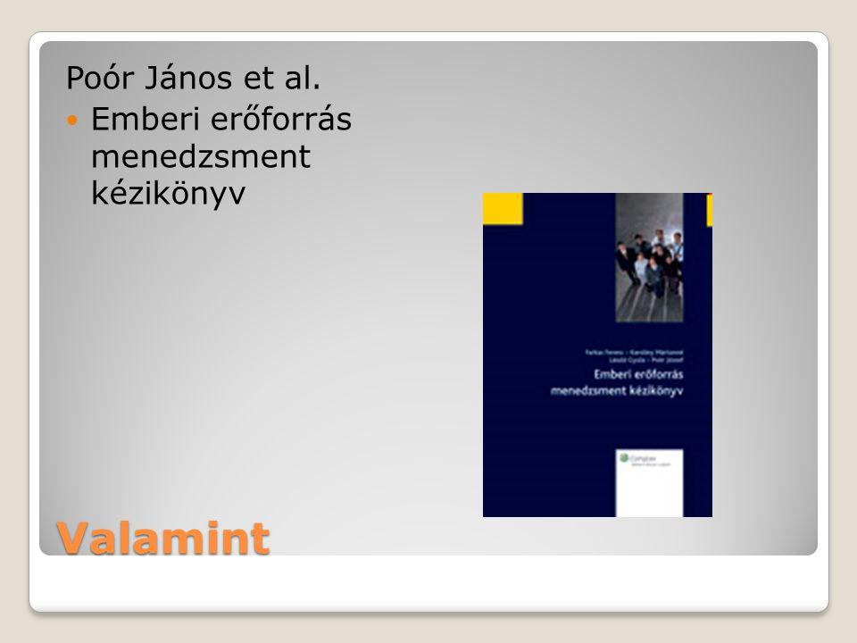 Valamint Poór János et al. Emberi erőforrás menedzsment kézikönyv