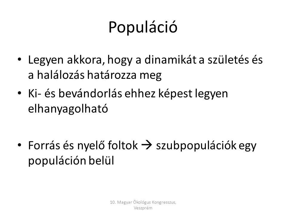 Populáció Legyen akkora, hogy a dinamikát a születés és a halálozás határozza meg Ki- és bevándorlás ehhez képest legyen elhanyagolható Forrás és nyelő foltok  szubpopulációk egy populáción belül 10.