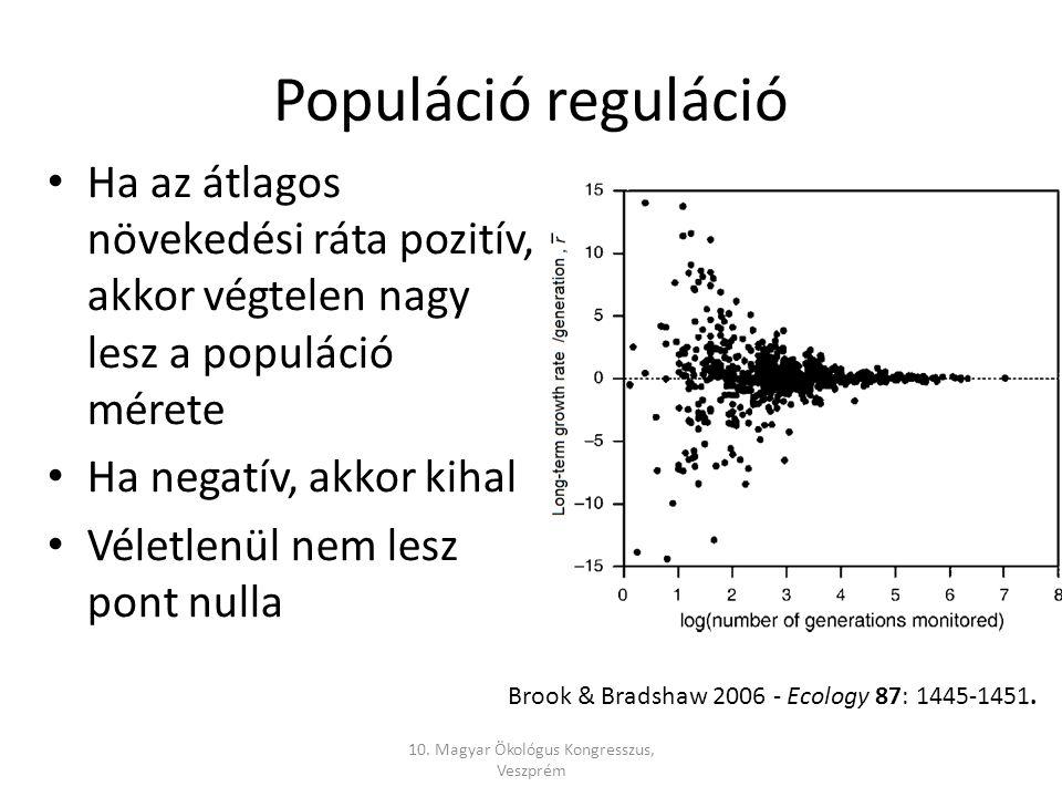 Populáció reguláció Ha az átlagos növekedési ráta pozitív, akkor végtelen nagy lesz a populáció mérete Ha negatív, akkor kihal Véletlenül nem lesz pont nulla 10.