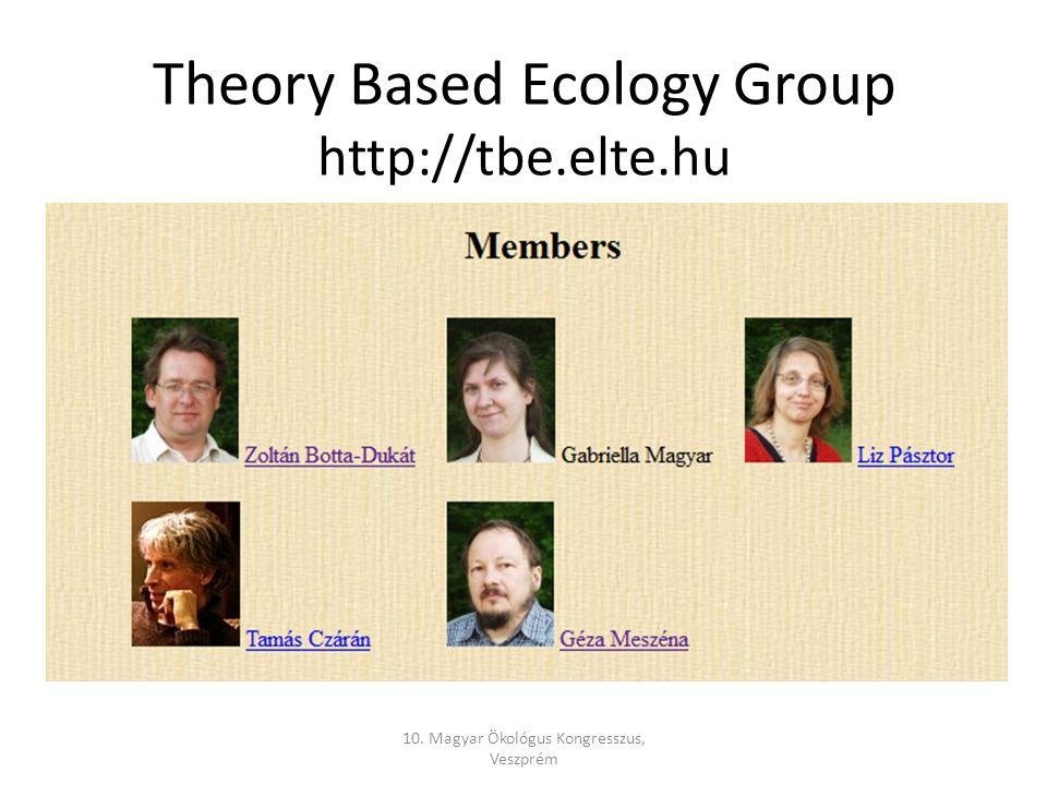 Theory Based Ecology Group http://tbe.elte.hu 10. Magyar Ökológus Kongresszus, Veszprém
