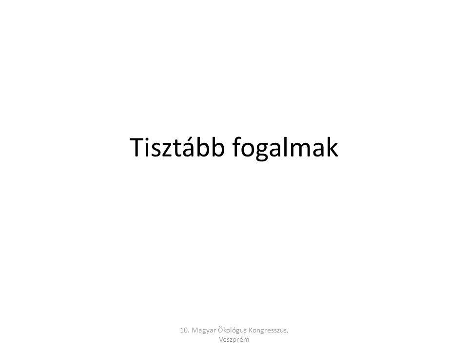 Tisztább fogalmak 10. Magyar Ökológus Kongresszus, Veszprém