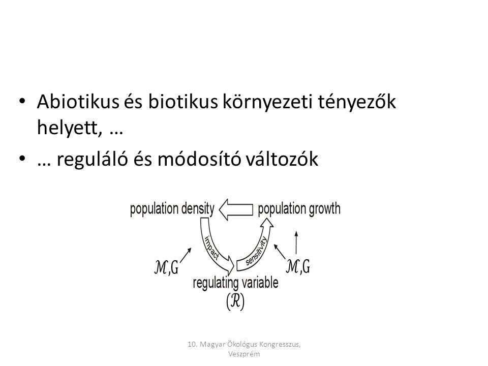 Abiotikus és biotikus környezeti tényezők helyett, … … reguláló és módosító változók 10.