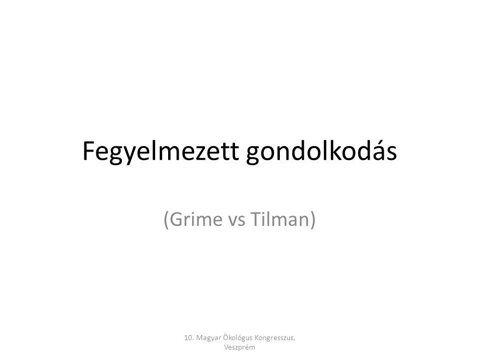 Fegyelmezett gondolkodás (Grime vs Tilman) 10. Magyar Ökológus Kongresszus, Veszprém