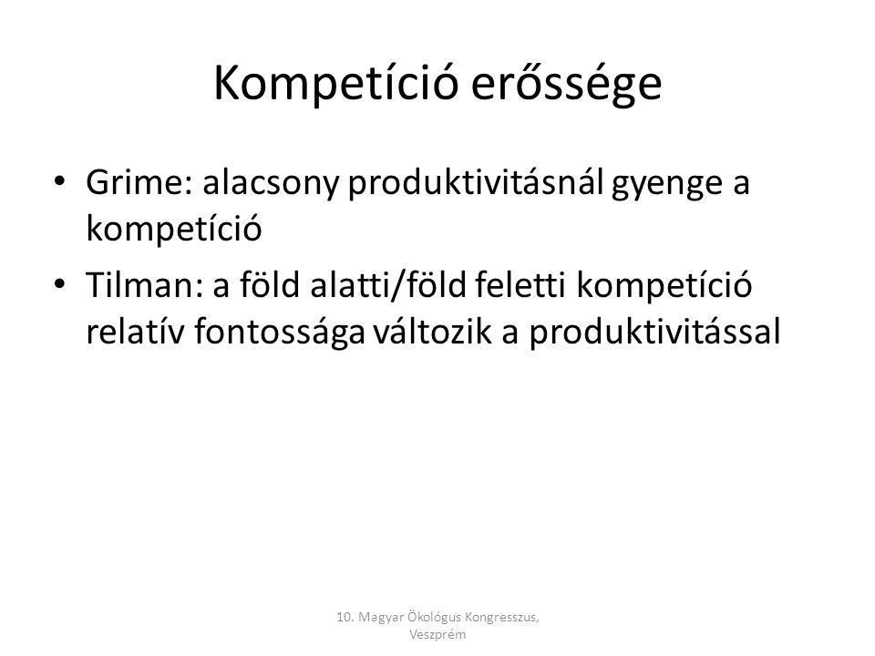 Kompetíció erőssége Grime: alacsony produktivitásnál gyenge a kompetíció Tilman: a föld alatti/föld feletti kompetíció relatív fontossága változik a produktivitással 10.
