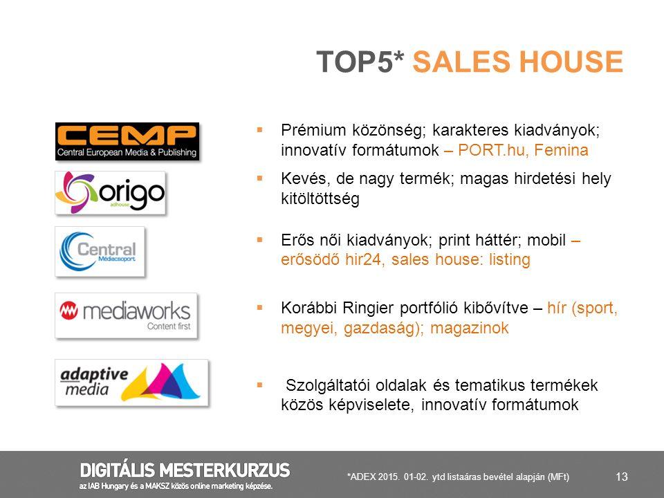 13 TOP5* SALES HOUSE  Prémium közönség; karakteres kiadványok; innovatív formátumok – PORT.hu, Femina  Kevés, de nagy termék; magas hirdetési hely k