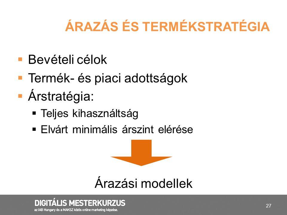 27  Bevételi célok  Termék- és piaci adottságok  Árstratégia:  Teljes kihasználtság  Elvárt minimális árszint elérése Árazási modellek ÁRAZÁS ÉS