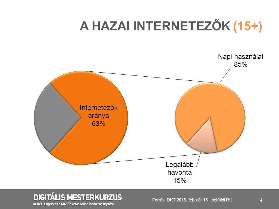 4 A HAZAI INTERNETEZŐK (15+) Forrás: DKT 2015. február 15+ belföldi RU