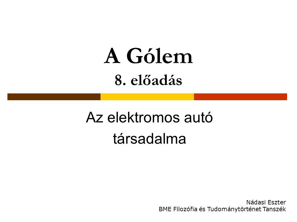 A Gólem 8. előadás Az elektromos autó társadalma Nádasi Eszter BME Filozófia és Tudománytörténet Tanszék