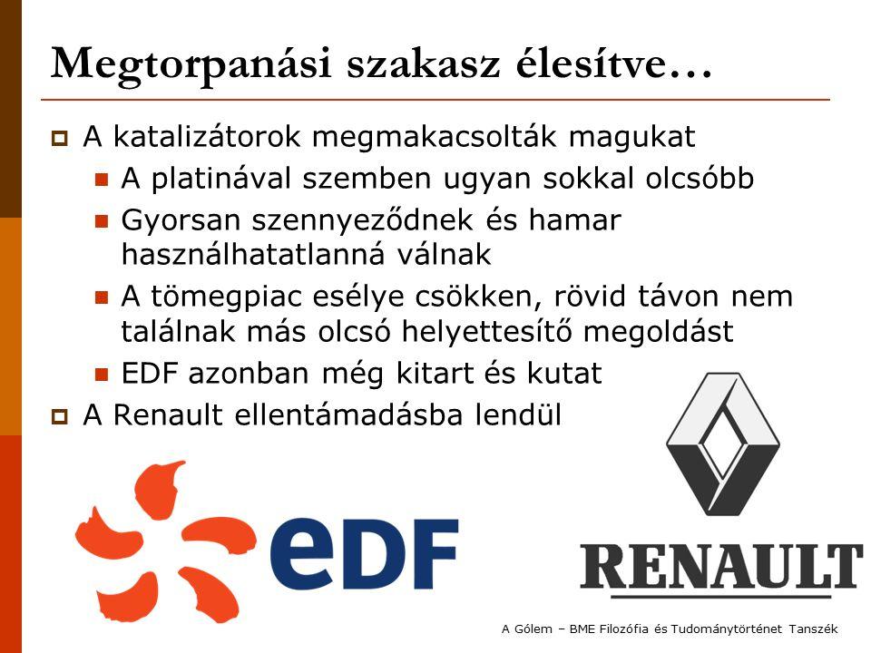 Megtorpanási szakasz élesítve…  A katalizátorok megmakacsolták magukat A platinával szemben ugyan sokkal olcsóbb Gyorsan szennyeződnek és hamar használhatatlanná válnak A tömegpiac esélye csökken, rövid távon nem találnak más olcsó helyettesítő megoldást EDF azonban még kitart és kutat  A Renault ellentámadásba lendül A Gólem – BME Filozófia és Tudománytörténet Tanszék