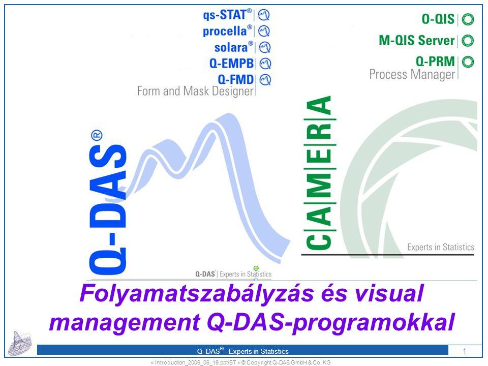 Q–DAS ® - Experts in Statistics A Q-DAS-lehetőségek CAMERA-koncepció, O-QIS: dokumentált, automatizált támogatás a folyamatok szabályzásához a gyártás számára fontos adatok interaktív megjelenítése adatszolgáltatás az eszkalációs rendszerbe aktuális, azonnali, kiértékelt információ minden szintre integrálhatóság Operator Control Board: A mérési adatok a gyártóeszközök szerinti online, interaktív megjelenítése a gyártóhelyen M-QIS-alkalmazások: A gyártási adatok hierarchikus, aktuális áttekintése pár kattintással A Q-DAS PROGRAMOK ALKALMAZÁSÁVAL NÖVEKSZIK A GYÁRTÁS MEGBÍZHATÓSÁGA ÉS CSÖKKENNEK A KÖLTSÉGEK A Q-DAS KIÉRTÉKELÉSEIT MINDENÜTT ELFOGADJÁK 22 © Copyright Q-DAS GmbH & Co.