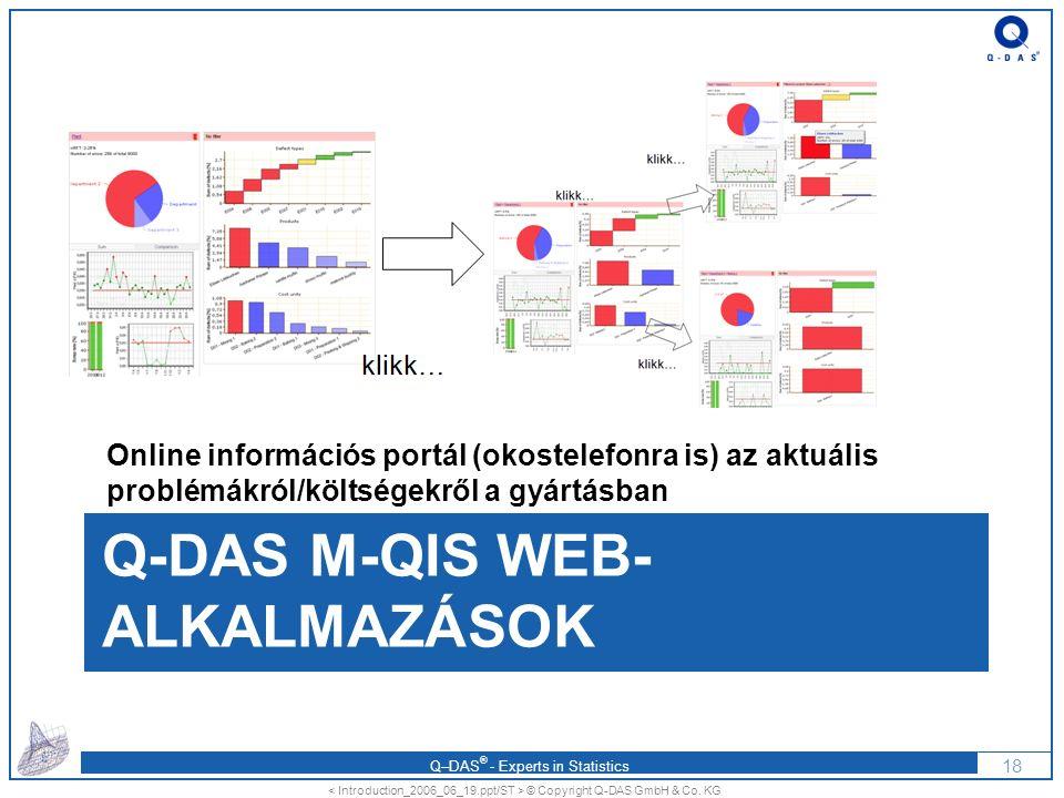 Q–DAS ® - Experts in Statistics Q-DAS M-QIS WEB- ALKALMAZÁSOK Online információs portál (okostelefonra is) az aktuális problémákról/költségekről a gyártásban 18 © Copyright Q-DAS GmbH & Co.