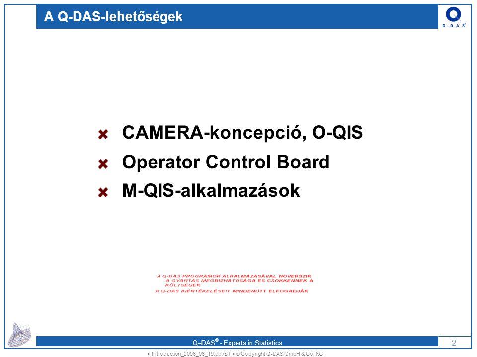 Q–DAS ® - Experts in Statistics A Q-DAS CAMERA-koncepciója A CAMERA-koncepcióval a Q-DAS a következő lehetőségeket biztosítja a gyártásirányítás számára: Azonnali visszajelzés a mérési eredményekről a folyamatot szabályzó munkatársaknak és a gyártás-vezetésnek (idő-megtakarítás) villámgyors adat-megtekintés – a korrekciót segítő adatok megjelenítésével gyors áttekintés a gyártás számára fontos adatokról ha szükséges, az adatbevitel kikényszerítése a folyamatszabályozás visszakövethetősége a (dokumentált) vissza-ellenőrzés lehetősége adatszolgáltatás az eszkalációs rendszerbe aktuális, azonnali kiértékelt információ a gyártás-vezetésnek integrálhatóság az irányítási rendszerekbe (ERP, CAQ, pl.: SAP, IQS, B&W) 3 © Copyright Q-DAS GmbH & Co.