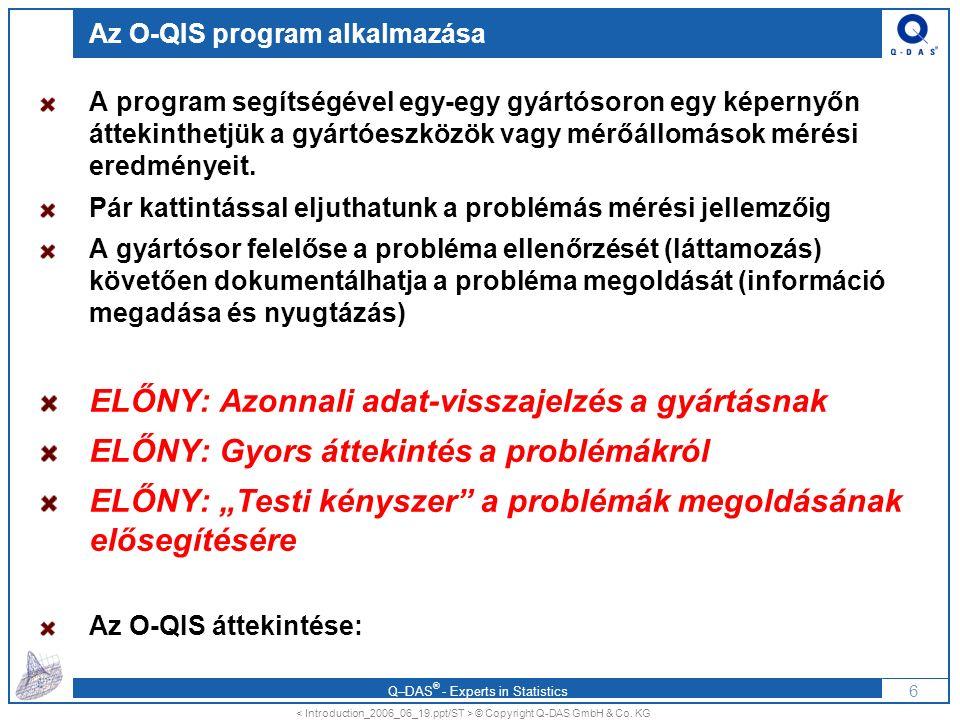 Q–DAS ® - Experts in Statistics Messdaten als Datei Messdaten RS-232 / USB O-QIS: Az alkalmazási esetek áttekintése Wiederholmessung SPS Prozessdaten Alarm Maschine 5Übersicht Teile/MerkmaleEinzelwerte zum Alarm 7 Központi Q-DAS adatbank KMG Konvertierung in Q-DAS Datei Manuelle Datenerfassung bzw.