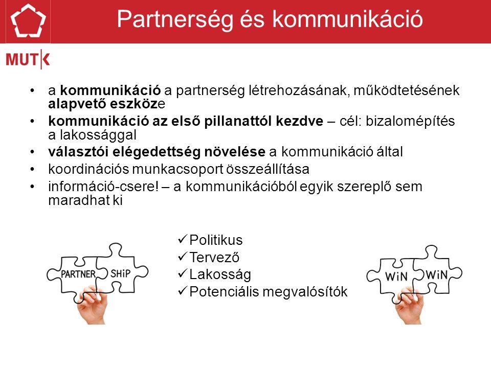 a kommunikáció a partnerség létrehozásának, működtetésének alapvető eszköze kommunikáció az első pillanattól kezdve – cél: bizalomépítés a lakossággal választói elégedettség növelése a kommunikáció által koordinációs munkacsoport összeállítása információ-csere.