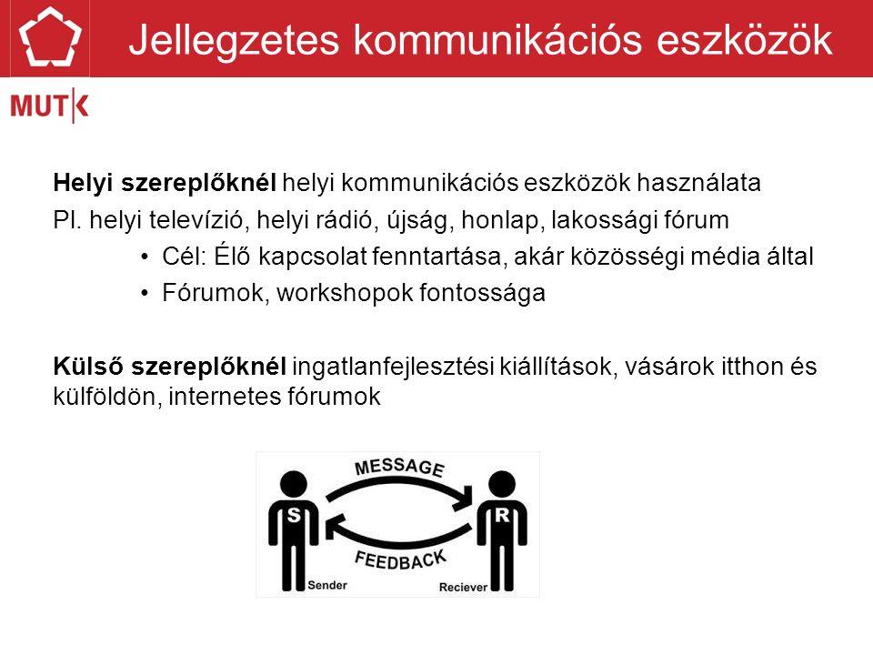 Helyi szereplőknél helyi kommunikációs eszközök használata Pl.