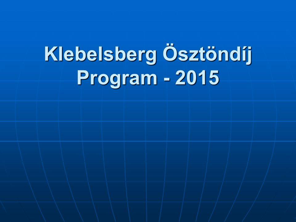 Klebelsberg Ösztöndíj Program - 2015