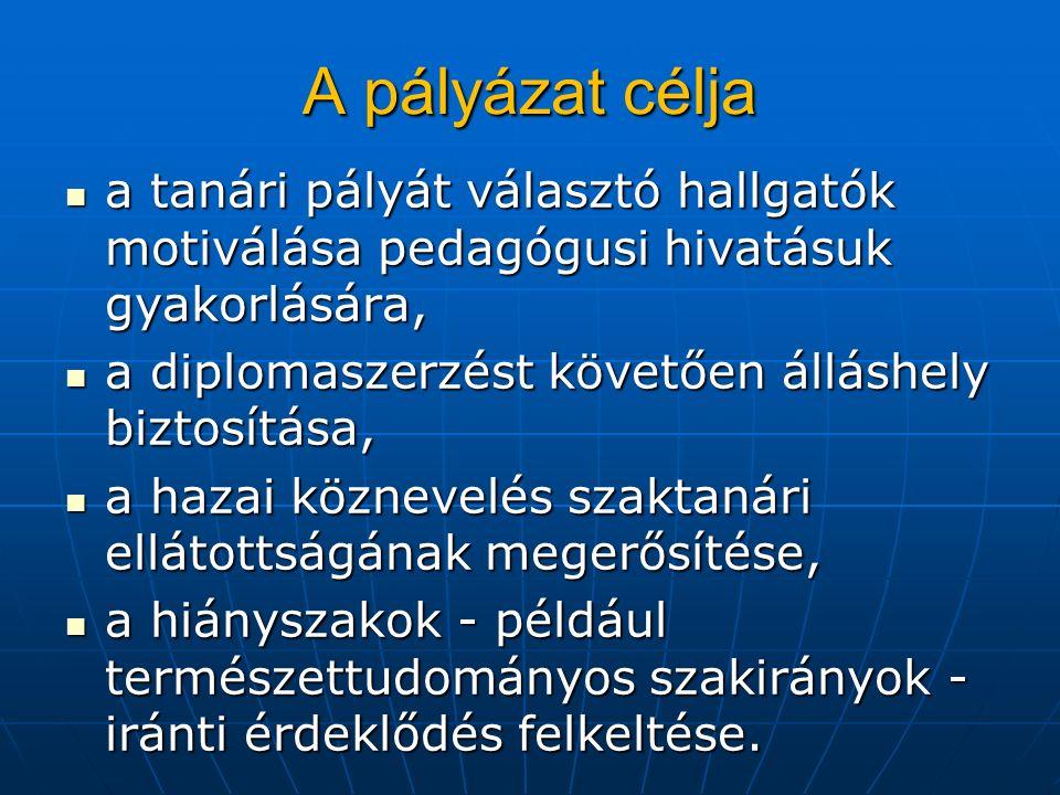 A pályázat célja a tanári pályát választó hallgatók motiválása pedagógusi hivatásuk gyakorlására, a tanári pályát választó hallgatók motiválása pedagógusi hivatásuk gyakorlására, a diplomaszerzést követően álláshely biztosítása, a diplomaszerzést követően álláshely biztosítása, a hazai köznevelés szaktanári ellátottságának megerősítése, a hazai köznevelés szaktanári ellátottságának megerősítése, a hiányszakok - például természettudományos szakirányok - iránti érdeklődés felkeltése.